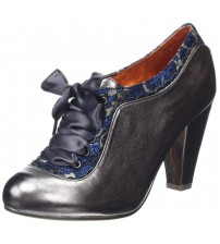 Poetic Licence Backlash Grey Blue Leather Womens Heels Shoes