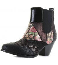 Poetic Licence Chelsea Patch Black Floral Hi Ankle Boots