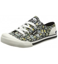 Rocket Dog Jazzin Black Multi Womens Canvas Trainers Shoes