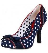 Ruby Shoo Amy Navy Spots Womens Hi Heels Court Shoes