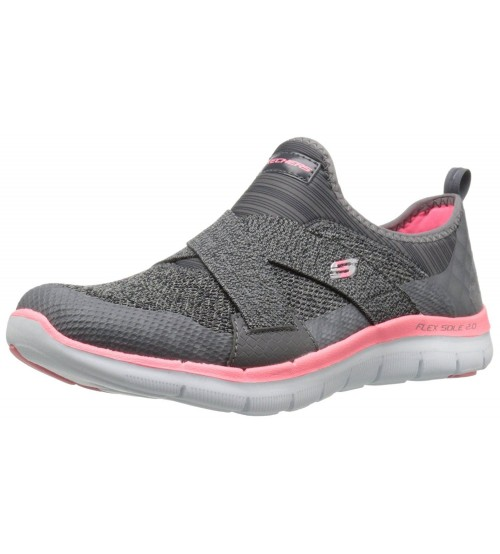 Skechers Flex Appeal 2.0 New Image Grey Pink Womens Trainers