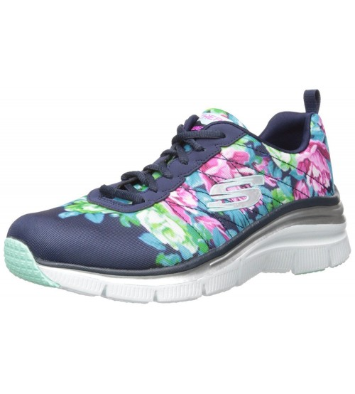 952010933fed Skechers Fashion Fit Navy Floral Womens Trainers Shoes