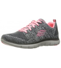 Skechers Flex Appeal 2.0 High Energy Grey Pink Womens Trainers