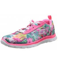 Skechers Flex Appeal Floral Bloom Pink Multi Womens Trainers Shoes