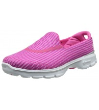 Skechers Go Walk 3 Pink White Womens Silpon Shoes