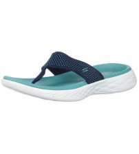 Skechers On The Go 600 Navy Turquoise Womens Sandals