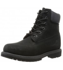 Timberland 6 Inch Premium Black Black Womens Leather Boots