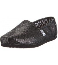 Toms Classic Black Glitter Women Canvas Slipons