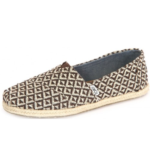 Toms Classic Brown Geo Woven Womens Espadrilles Shoes
