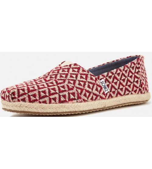 Toms Classic Red Geo Woven Womens Espadrilles Shoes