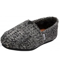 Toms Classic Black Kint Shearling Womens Espadrilles Shoes