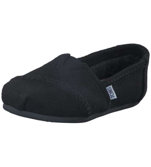 Toms Classic Black Shearling Womens Espadrilles Shoes