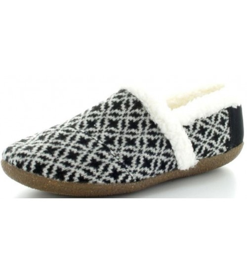 Toms Classic Black White Shearling Womens Slippers