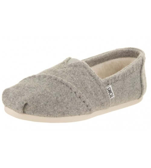 Toms Classic Grey Shearling Womens Espadrilles Shoes