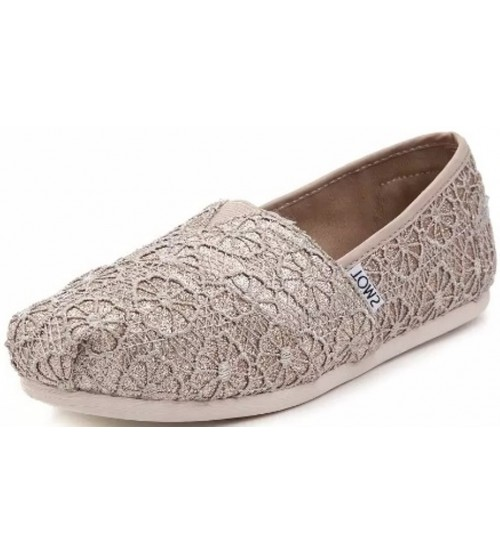 Toms Classic Rose Gold Crochet Glitter Womens Espadrilles Shoes