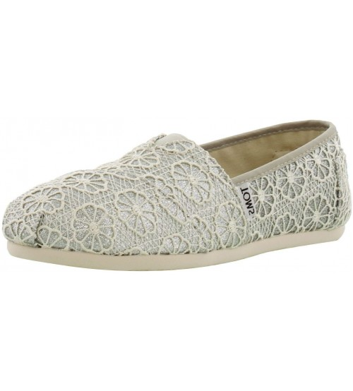 Toms Classic Silver Crochet Glitter Womens Espadrilles Shoes