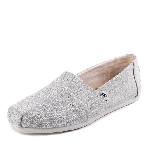 Toms Classic Grey Chambray Womens Canvas Espadrilles Shoes