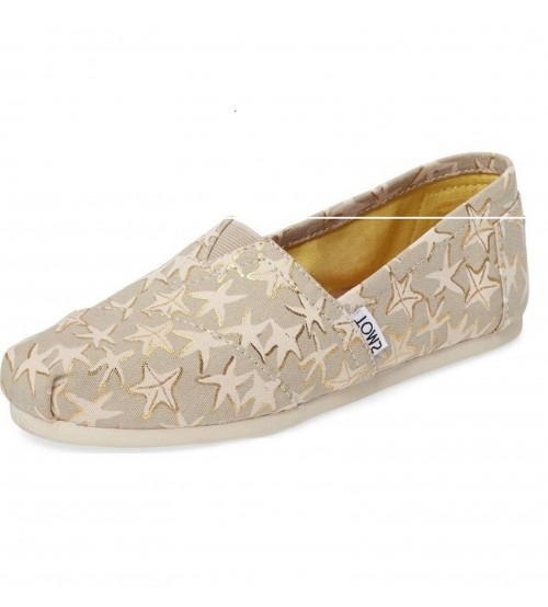 Toms Classic Gold Starfish Womens Canvas Espadrilles Shoes