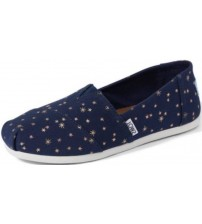Toms Classic Navy Gold Stars Womens Espadrilles Shoes