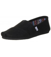 Toms Classic Black Burlap Womens Canvas Slipons