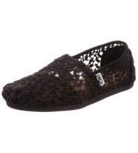 Toms Classic Black Lace Leaves Womens Espadrilles Shoes