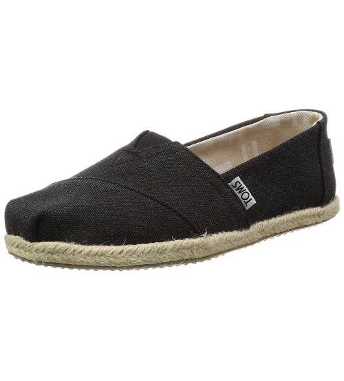 Toms Classic Black Washed Womens Canvas Espadrilles Shoes