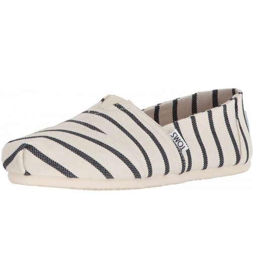 Toms Classic White Navy Stripe Womens Espadrilles Shoes