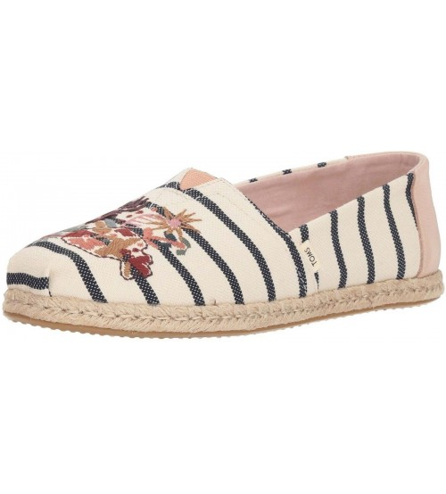 Toms Classic Floral Embroidery Stripe Womens Espadrilles Shoes