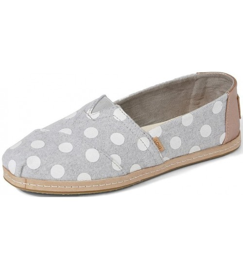 Toms Classic Grey Dots Leather Womens Espadrilles Shoes