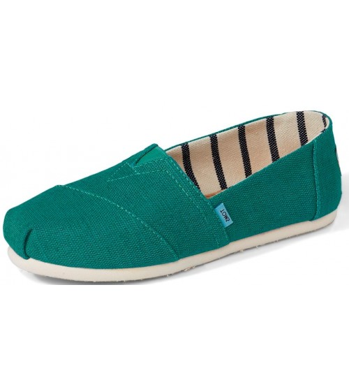Toms Classic Teal White Womens Espadrilles Slipons Shoes
