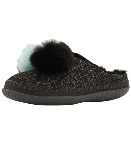 Toms Ivy Black Multi Felt Pom Pom Womens Slippers Shoes