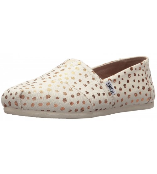 Toms Classic Rose Gold Natural Womens Canvas Espadrilles Shoes
