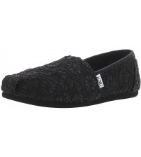 Toms Classic Black Crochet Glitter Womens Espadrilles Shoes