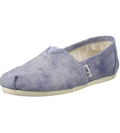 Toms Classic Slate Blue Washed Canvas Womens Shoes