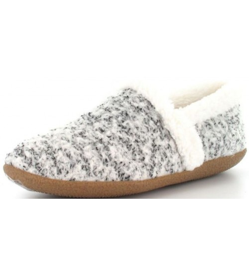 Toms Classic White Black Shearling Womens Slipperss