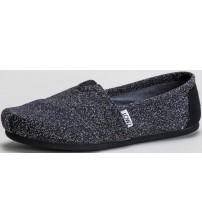Toms Classic Black Marl Womens Espadrilles Shoes Slipons