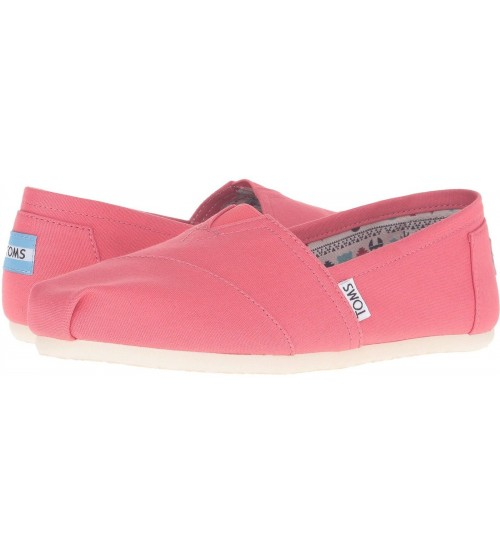 Toms Classic Coral White Women Canvas Slipons