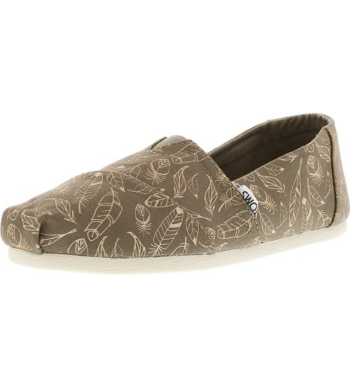 Toms Classic Taupe Foil Feathers Womens Canvas Shoes