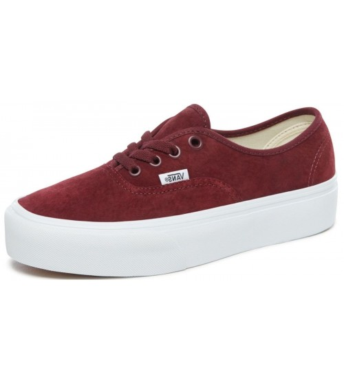 b00fbfe8d9c2 Vans Authentic Platform 2.0 Maroon White Womens Suede Trainers
