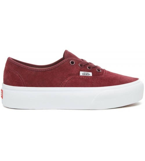 Vans Authentic Platform 2.0 Maroon White Womens Suede Trainers eb698aa69