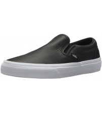 Vans Classic Black White Leather Womens Slip-on Trainers Shoes