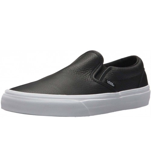 Vans Classic Black White Leather Womens Slip-on Trainers Shoes 859918639738