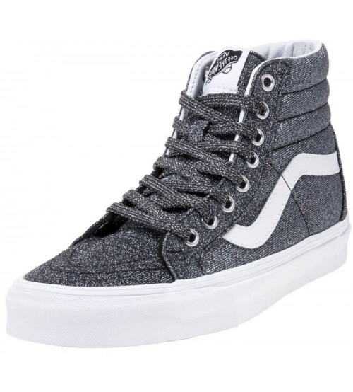 Vans SK8 Hi Lurex Glitter Black Womens Leather Trainers