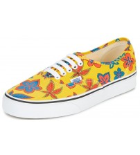 Vans Authentic Yellow Floral Womens Canvas Skate Trainers Shoes