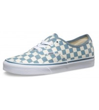 Vans Authentic Aqua White Check Womens Canvas Trainers Shoes
