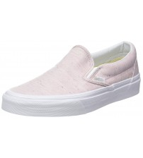 Vans Classic Pink White Womens Canvas Slip on Trainers Shoes