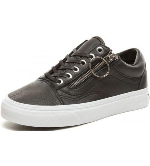 afc83a413dc758 Vans Old Skool Zip Black White Womens Leather Trainers