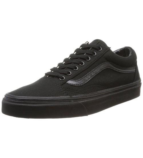 Vans Old Skool Black Canvas Leather Unisex Trainers Shoes