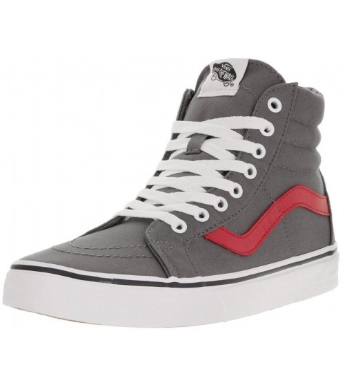 Vans SK8 Hi Reissue Grey Red Womens Canvas Skate Trainers Shoes