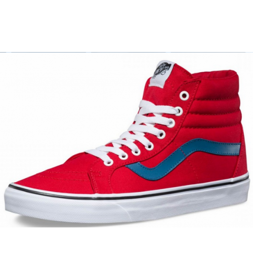 5cc942e6aff7c0 Vans SK8 Hi Reissue Red White Womens Canvas Skate Trainers Shoes
